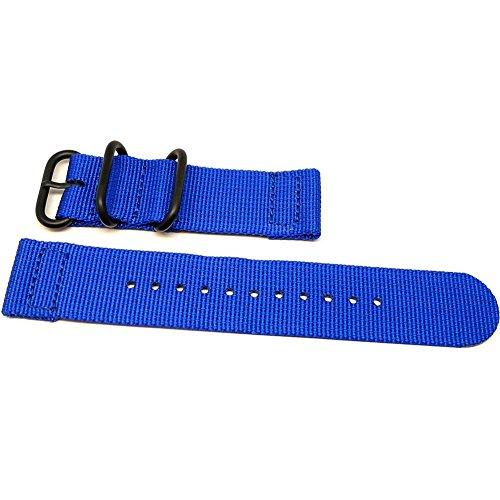 DaLuca Two Piece Ballistic Nylon NATO Watch Strap - Blue (PVD Buckle) : 18mm