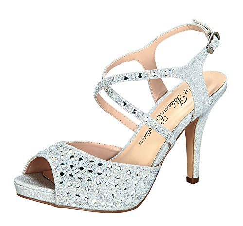 Heels Patent Leather Lace - Robin-149 Women's Rhinestone Embellished Slingback Strappy Dress Sandals Silver 7
