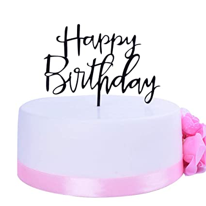 Amazon SHAMI Happy Birthday Cake Topper Black Premium Quality Acrylic Cursive Cupcake Toppers Party Decoration Supplie Sign Banner