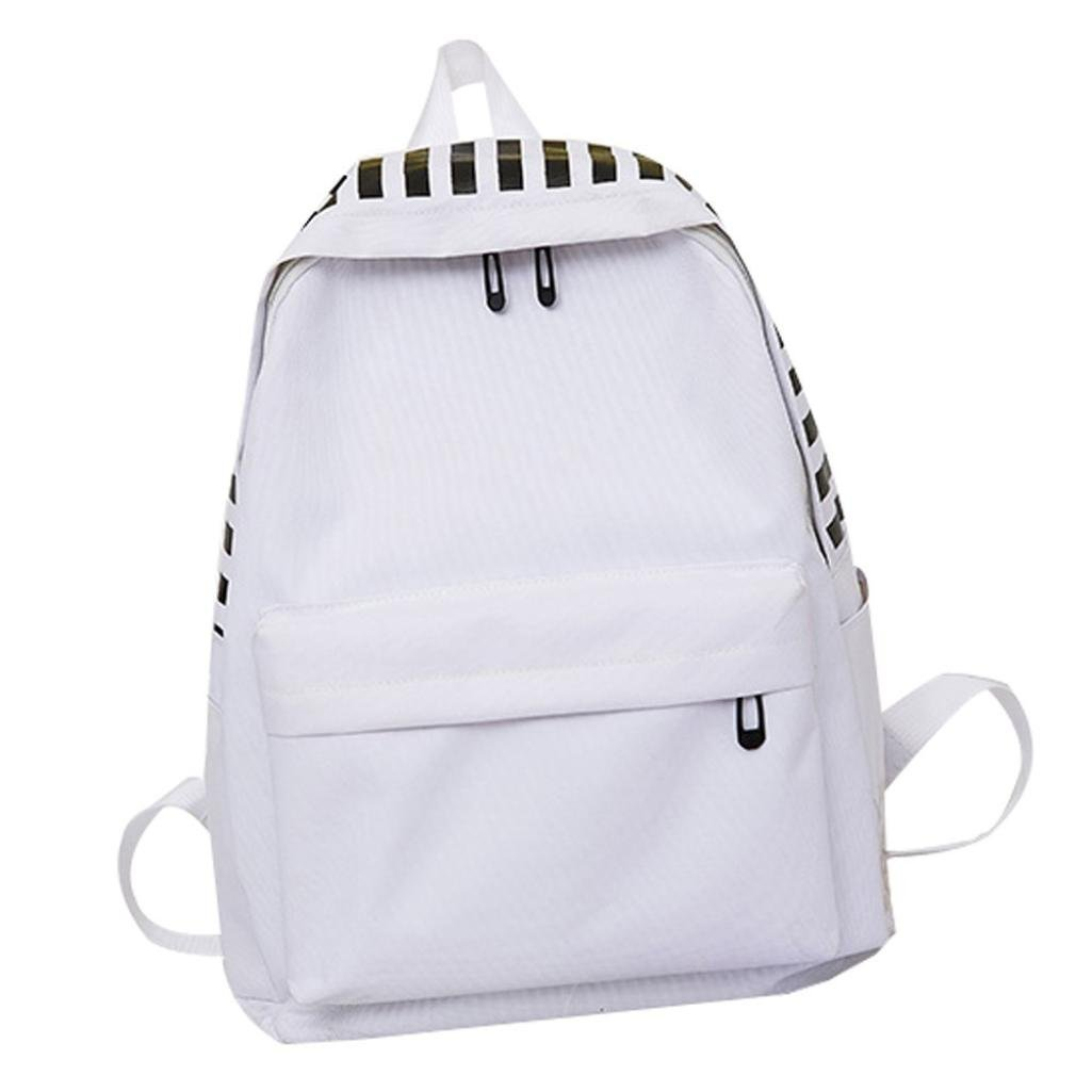 Aobiny Backpack Neutral Canvas Letter Outdoor Travel Student Backpack (White)