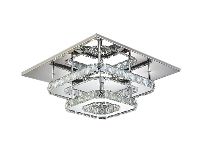 Modern Square 30cm LED Crystal Ceiling Lights Chandeliers Bilayer Aisle  Light