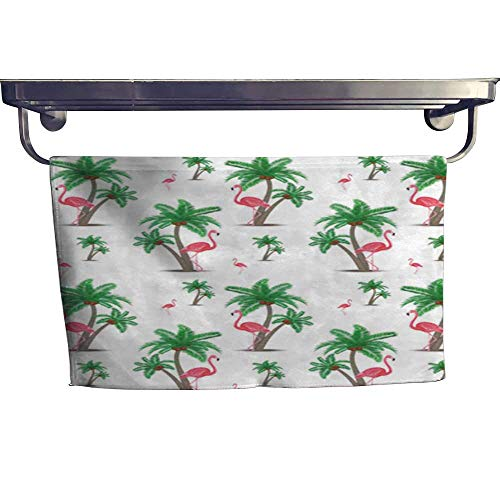 Pattern Leaf Mission (warmfamily Pool Gym Towels Pink Flamingos Tropical Flowers and Palm Leaves Hibiscus Beautiful Floral Jungle Pattern Background Wallpaper Towel W 10