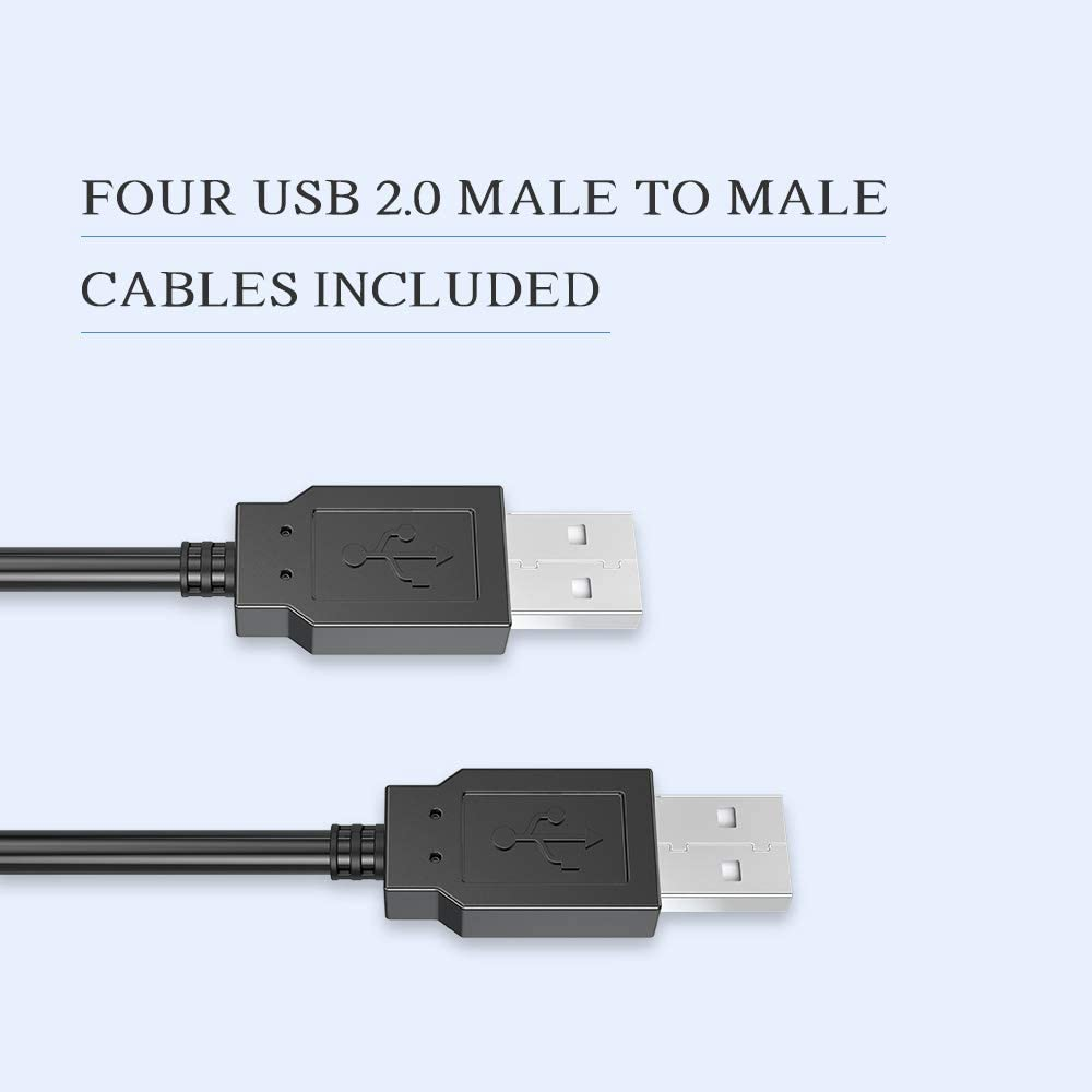 eKL USB 2.0 Sharing Switch 4 Computers in 4 USB Peripheral Out Switcher for PCs Mouse Keyboard Scanner Printer with 4 Pack USB A to A Cable