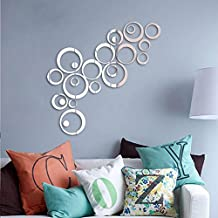 Soledi® Shining Silver Tone Acrylic 3D Mirror Effect Wall Sticker Round Circle Decal Mural Art Wall Decor Home Office