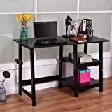 Writing Laptop Desk with Shelves, Working Space, Exra Storage, Oraganizer, Modern Design, Sturdy Construction, Home Office, Dorm, Student Room, Black Color