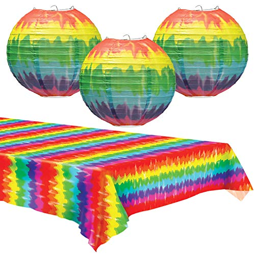 Tie Dye Paper Lanterns & Table Cover Set - Party Decorations for 60's or Hippie Theme -