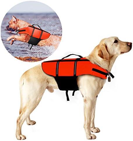 Giubbotto di salvataggio per cani Poppypet, giubbotto salvavita galleggiante, in arancione e con elementi catarifrangenti