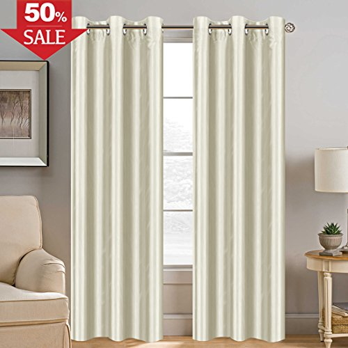 H.VERSAILTEX Room Darkening Faux Silk Curtain 84 inch Privacy Protection Energy Saving Drape Dimout Light Window Drapes for Living Room, Nickel Grommet (1 Panel, 42 by 84 Inch, Ivory)