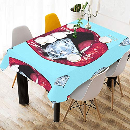 Camping Picnic Table Cloth Red Lip Hold Sparking Diamond Cotton Print Table Linens Cloth Cover Tablecloth for Kitchen Dining Room Decor 60x84 Inch Table Cloths Rectangle