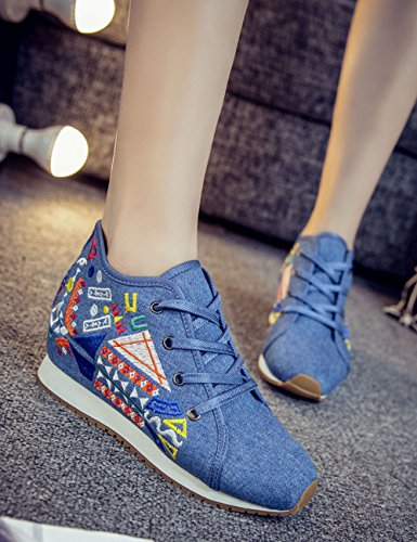 Sneakers Walking Geometric Fashion Flats Shoes Embroidered Canvas Traveling Blue Casual Shoes Increased Cloth Womens jihe Twz8qn