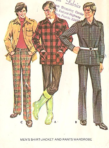 Leisure Suits 1970s (Men's shirt-jacket and pants / leisure suit - McCall's vintage 1970s sewing pattern 3442 - Chest size 44)