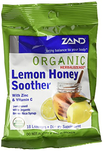 ZAND Herbalozenge Organic Lozenges, with Zinc & Vitamin C, Lemon Honey Soother, 12 - 18 lozenge bags (216 (Organic 18 Lozenges)