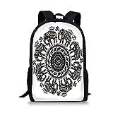 iPrint School Bags Elephant Mandala,Ethnic Asian Belief Spirit Animals Circle Floral Paisley Details,Black White Boys&Girls Mens Sport Daypack
