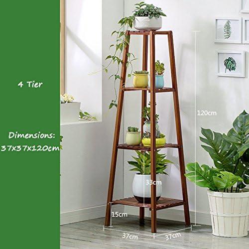 4 Fila di Fiori Rack di bambù Fiore mensole angolari da