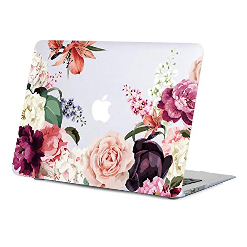 MacBook Air 13.3 Inch Case Floral, Rose Flower Clear Case, Matte Soft-Touch Hard Shell Case Cover Model A1466 A1369 with Keyboard Cover 2010-2017