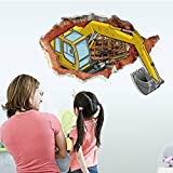 Wall Sticker,Ikevan Fashion Creative Personality Living Room Excavator 3D Wall Stickers Home Decor