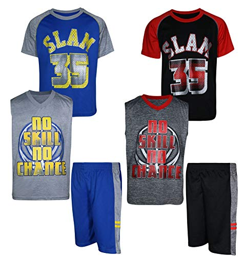 Mad Game Boys' 6-Piece Performance Basketball Shirt and Short Set (2 Full Sets), No Skills No Chance, Size 2T'