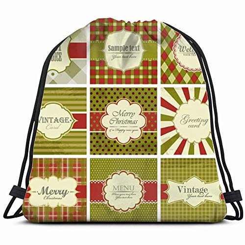- set christmas vintage holidays Drawstring Backpack Gym Sack Lightweight Bag Water Resistant Gym Backpack for Women&Men for Sports,Travelling,Hiking,Camping,Shopping Yoga