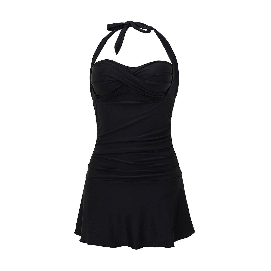 MEATFLY.Women's Skirted Swimdress One Piece Swimsuit Bathing Suit Swimwear (Black, US 8-10=Tag Size L)