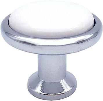 20 x Polished Chrome White Porcelain Knob Modern Kitchen Drawer Cabinet Door