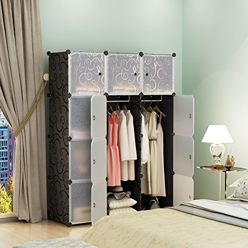 KOUSI Portable Closet Clothes Wardrobe Bedroom Armoire Storage Organizer with Doors, Capacious & Sturdy, Black, 6 Cubes+2 Hanging Sections Design Armoire