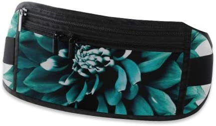 Travel Waist Pack,travel Pocket With Adjustable Belt Turquoiseteal Flower White Isolated Nature Running Lumbar Pack For Travel Outdoor Sports Walki