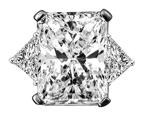 Triangular Womens Ring (5 CT. Radiant Center Classic Style Settings w/two 1 CT. Triangular Sides Engagement/Wedding Sterling Silver Ring (Clear, 6))