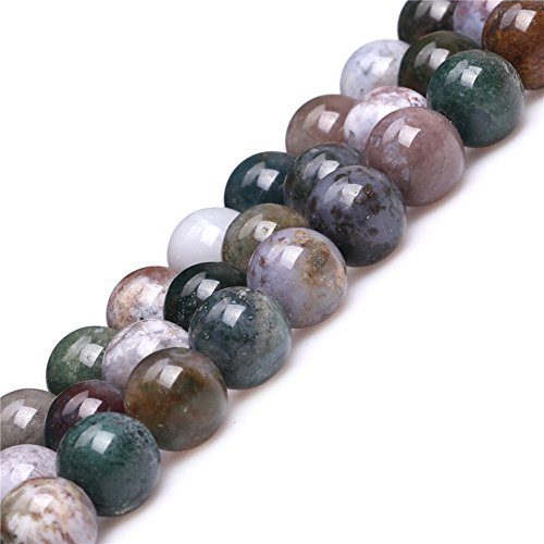 14mm Round Bead Strand - Joe Foreman Indian Agate Beads for Jewelry Making Natural Semi Precious Gemstone 14mm Round Strand 15