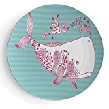 6'' Round Whale Pattern Ceramic Plate Cute Big Fish Swimming and Floral Marine Animal Mammal Creature Themed Design