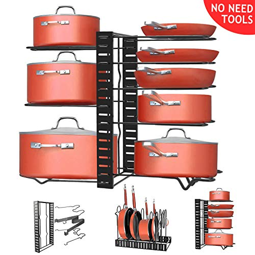 Pan Organizer Rack, MOICO 8 Adjustable Tiers Pot Rack Lid Organizer with 3 DIY Methods for Kitchen Counter and Cabinet