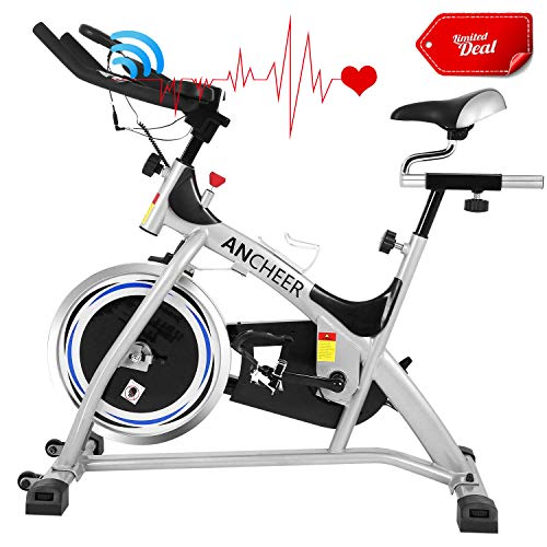 ANCHEER Indoor Cycling Exercise Bike, 40 lbs Flywheel Indoor Cycling Exercise Bike with Heart Rate, Quiet Smooth Belt Drive System, Adjustable Seat & Handlebars & Base