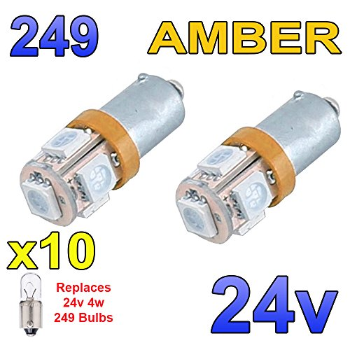 2 x Red 24v LED BA15s 149 R5W 13 SMD Number Plate Interior Bulbs HGV Truck