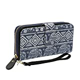 Bohemian Purse Wallet Canvas Elephant Pattern Handbag with Coin Pocket and Strap (Large, New Blue Elephant)
