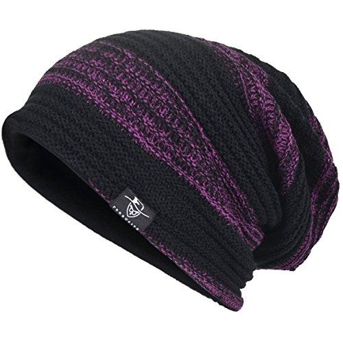 VECRY Men's Cool Cotton Beanie Slouch Skull Cap Long Baggy Hip-hop Winter Summer Hat B305 - Purple Long Beanie
