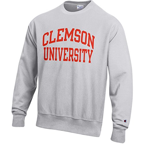 Champion NCAA Men's Reverse Weave Crew, Gray, Small