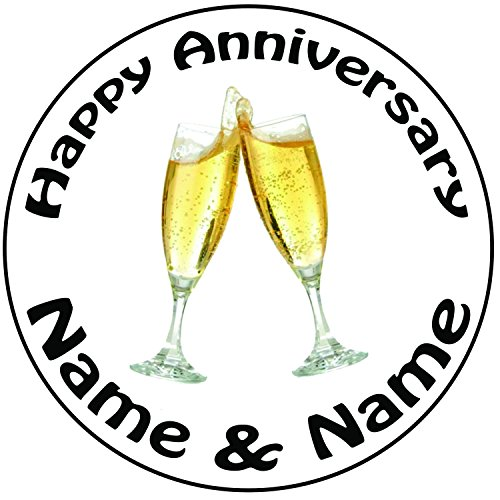 AKGifts Personalised Champagne Glasses Anniversary Cake Topper - A Pre-cut Round 8