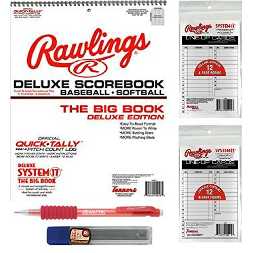 Large Baseball/Softball Scorebook Bundled with 24 Lineup Cards and Pencil With Refills (Best Baseball Scorebook For Little League)