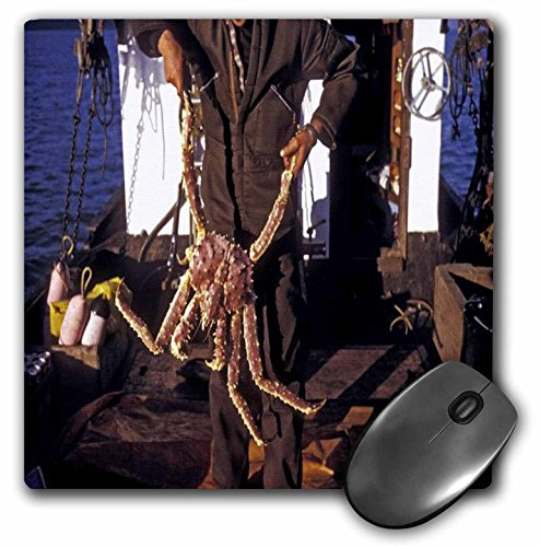 3dRose LLC 8 x 8 x 0.25 Inches Mouse Pad, Man Holding Bering Sea King Crab - King Crab Sea Bering