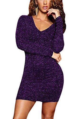 Meenew Women s Long Sleeve V Neck Sequin Glitter Club Bodycon Bandage Dress 3431a39a8