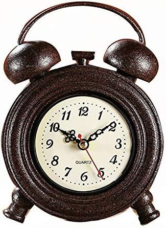 装飾置時計 ヴィンテージツインベル置時計メタルバッテリーはリビングルームバーのための運営します 家庭用装飾時計 (色 : 褐色, サイズ : 12.4CMx4.6CMx17.6CM)