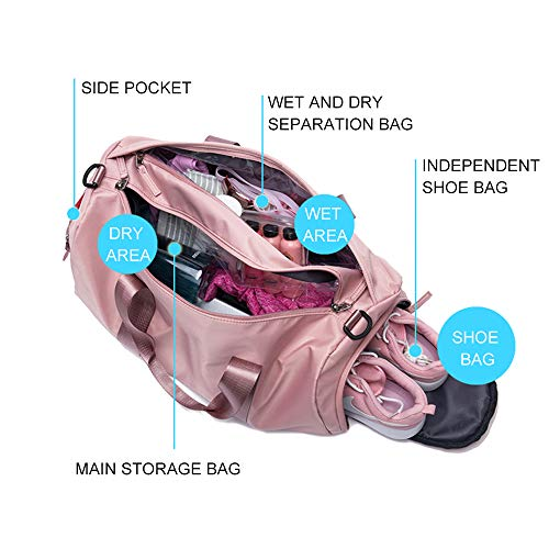 PinPle Sport Gym Bag Travel Duffel Bag with Shoe Compartment and Dry Wet Separation Layer for Men Women Cherry Blossom Pink