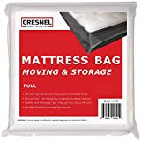 CRESNEL Mattress Bag for Moving & Long-Term Storage - Full Size - Enhanced Mattress Protection with Super Thick Tear & Puncture Resistance Polyethylene