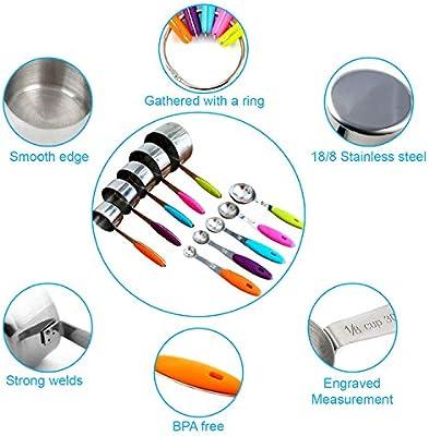 Amazon.com: Juego de 11 tazas y cucharas medidoras, vasos y ...