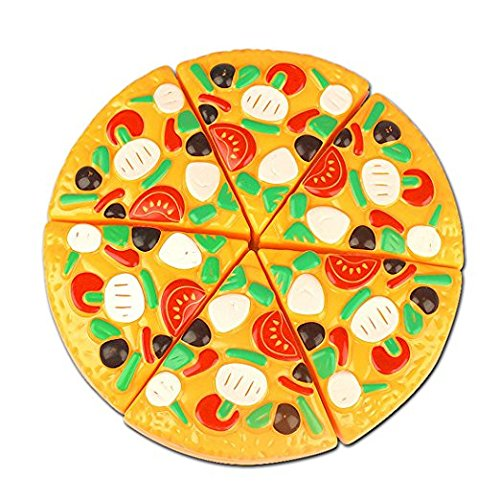ZINKODA Cutting Toy Plastic Pizza Food Kitchen Pretend Play Toy Early Development and Education Toy for Baby Kids Children