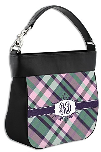 Purse Plaid Front Hobo Personalized Pop Leather Genuine w Back Trim amp; with qZtrpSZ