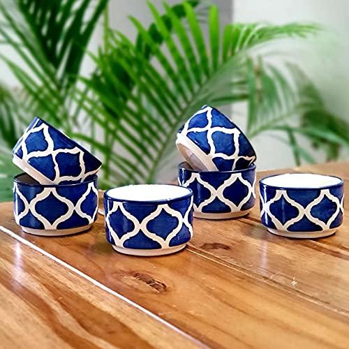 Backspace Ceramic Abstract Mini Bowls   50ml, Set of 6, Blue