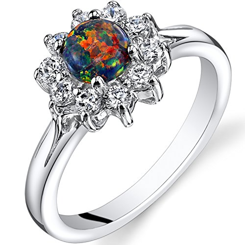 Created Black Opal Daisy Ring Sterling Silver CZ Accent Size 5 (Silver Sterling Ring Cluster Five)