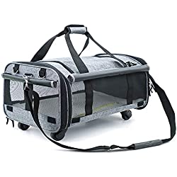 MLQ Pet Carrier Trolley, Pet Out Trolley Bag Increased Ventilation in Summer Cat Rice Cage with A Portable Dog Bag Travel Tote Bag with Wheels Big Space