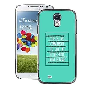 A-type Arte & diseño plástico duro Fundas Cover Cubre Hard Case Cover para Samsung Galaxy S4 (Bible Spirit Holy Quote God Green Poster)