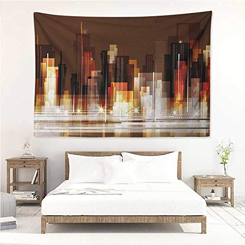 alisos City,Wall Decor Tapestry Abstract Urban Downtown Vibrant Silhouettes Buildings Panorama Artistic Modern 93W x 70L Inch Tapestry Wallpaper Home Decor Brown Multicolor ()